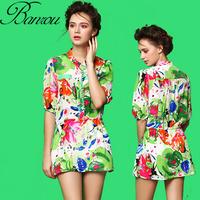 High End Short Sleeve Stand Collar Dress Vintage Silk Waisted Slim Dress Silk Floral Printed Beach Dress for Women 2014