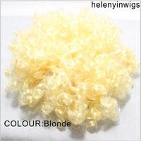 Blonde Afro Clown Costume Football Fan Fancy festival wig Halloween Party Wig wild-curl up yellow