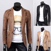 Plus Size 3 Colors 2014 New Fashion Stylish Slim Suede Fabric Pocket Mens Blazer Suit Slim Casual Jacket Coats For Men 8628