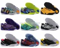 Hot KB 9 Low EM Black Crimson Metallic Silver Kb IX Mens Basket ball Shoes New 2014 sneaker 7-12