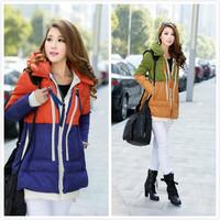 Unique KC03 New 2014 Winter Fashion Down Jacket Mixed Colors Hit Color Military Female Models Down Coat Slim Down