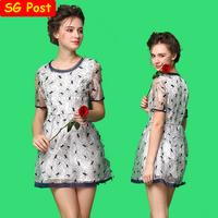 Vintage Layered Organza Flower Embroidery Dress Short Sleeve Round Collar Floral Slim Skater Dress atacado de roupas femininas