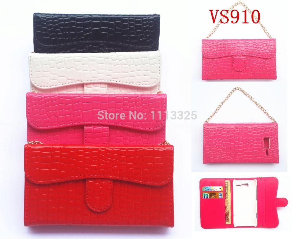 Deluxe crocodile grain PU Leather HandBag Holder Chain Wallet Card Flip Cover Case For LG ESTEEM MS910 REVOLUTION VS910(China (Mainland))