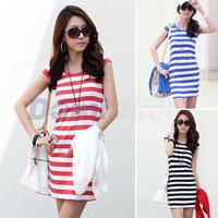 2014 New Fashion Women summer Striped Dress Sleeveless plus size Casual Dresses S-XXL Drop shipping
