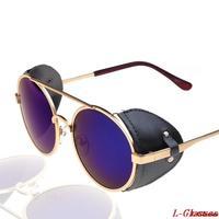 2014 New Fashion Sunglass Both Woman and Men Sun Glasses Steampunk UV Protection   Round Goggles Shades  Sunglasses