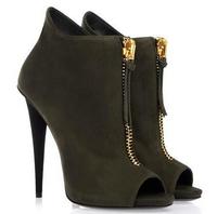New 2014 women designer open toe black/purple genuine leather front gloden zip high heels ankle boots,spring autumn women shoes