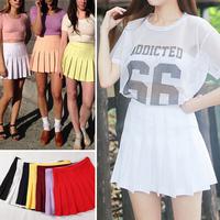 2014 American Apparel Street Fashion Woman Lady High Waist Ball Tennis Pleated Skirt XS-L White Black Red Pink Yellow