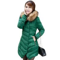 Hot Sale!2014 new arrival lady down cotton-padded jacket slim medium-long women's plus size brand korean winter coats for women