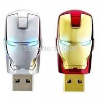2014 HOT Avengers Metal Iron Man Head LED Shiny Eyes Enough Capacity 4GB 8GB 16GB 32GB USB Flash Drive 2.0 Memory Stick Card