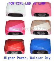 Free shipping 2014 New 40W Nail UV Led Lamp Acrylic Gel Salon Curing Light Time Dryer Polish SPA Watt 100-240V 7 Colors