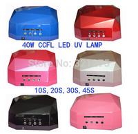 Free shipping 2014 New 40W Nail Art  Led UV Lamp Acrylic Gel Salon Curing Light Time Dryer Polish SPA Watt 100-240V 7 Colors