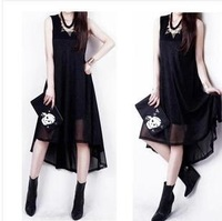 New 2014 Fashion Woman dress The 2014 Summer Dresses and bronzing Chiffon splicing long before after dress Free shipping