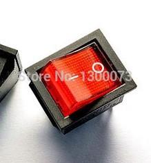 10PCS / lot 6-pin 16A 250V KCD4-202 KCD2 red button rocker switch on - off Rocker Power Switch(China (Mainland))