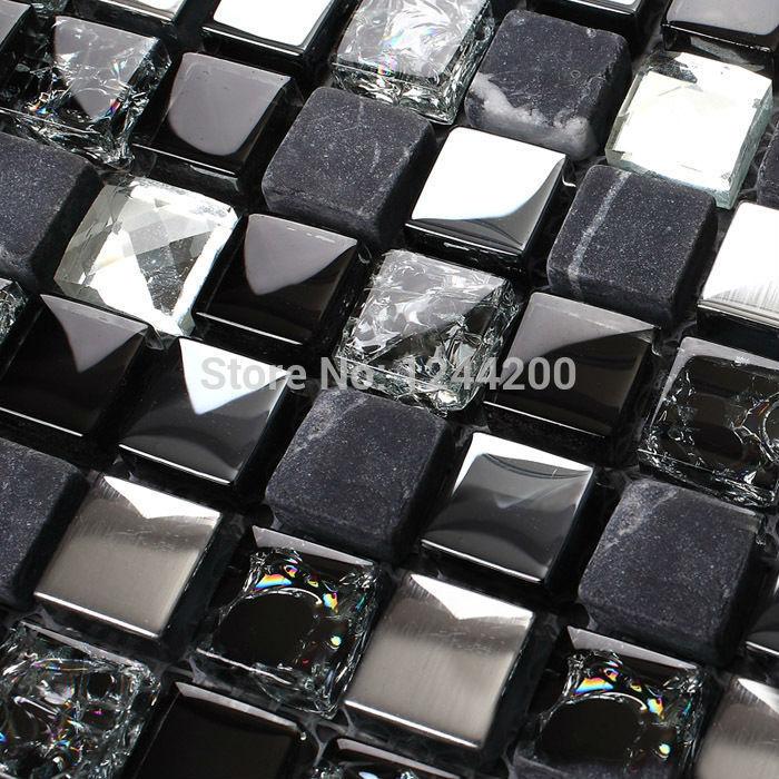 Azulejos Baño Efecto Piedra:Stainless Steel Glass and Stone Tile Backsplash
