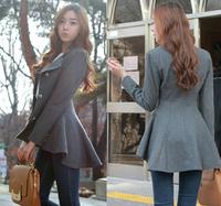 Autumn Korean Elegant Slim Swallow Tail Women Woolen Coat, Designer Irregular Long Dovetail Blazer Outwear Female Suit Jacket XL