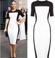 Big names Slim pack hip dress OL professional dress short-sleeved T-shaped stitching dresses women