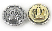 Free shipping Mini 1.2cm crown DIY snap button metal charms 2 color mix