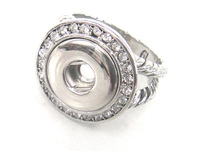 New Arrival Free shipping twist Chain & heart engrave botton CZ stone ring DIY pocket 1.2cm metal button charm ring