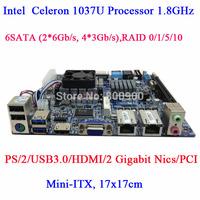 NAS N70E-DR v3 Celeron 1037U dual Gigabit NVR storage server motherboard USB3.0 Raid Nas server mini itx Motherboard 6 SATA