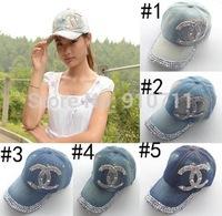 2014Retail Hat fashion high quality  Diamond Point X letters style Glass denim caps women baseball cap men Hat rhinestone print