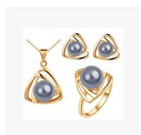 Wholesale - - Korean Pearl Jewelry sets Geometry  Pearl Jewelry Set / necklace + earrings Noble jewelry for women 3L Set S104