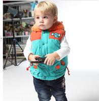2014 retail exempt postage Children's vest vest new winter Cartoon elephant boy cotton vest
