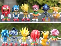 sonic the hedgehog 1set 1set= 6pcs 3inches 7cm SEGA Figures toy pvc toy sonic Characters figure toy