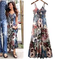 Summer Dress 2014 European V-neck Printed Slim Temperament Women Vestidos Bohemian Spaghetti Strap Beach Dresses 3107