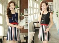 Free Shipping Fashion Womens False Two-piece Slim Fit Sleeveless Dress 2 Colors M~XXL [3 70-3987]