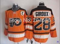 Men's Philadelphia Flyers Hockey Jerseys #28 Claude Giroux Jersey Orange Authentic Stitched Jersey 2012 Winter Classic Jerseys