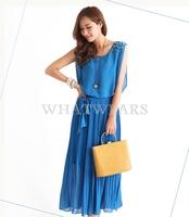 Free Shipping Womens Bohemian Sleeveless Shoulder Beaded Pleated Long Dress [2 70-3989]