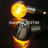 Pair Universal Motorcycle Bike Chrome Amber Bullet Turn Signal Indicator Lights Amber for Suzuki Harley Shadow VT VTX #3360*2