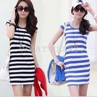 Free Shipping Fashion Womens Striped Package Hip Stretch Slim Mini Dress 2 Colors S~XXL [4 71-3003]