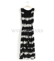Free Shipping Fashion Womens Black Sleeveless O-Neck Striped Long Dress [70-3906]