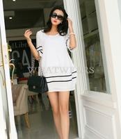 Free Shipping Fashion Womens Summer Loose Comfortable Half Sleeves Dress 3 Colors [3 70-1670]