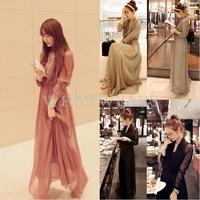 Free Shipping Fashion Womens Chiffon Elegant Bohemian V-Neck Full Dresses 3 Colors S~L [4 70-3997]