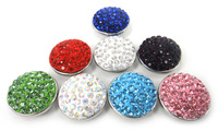 Free shipping hot selling 1.8-2cm shiny rhinestone clay pave alloy charm 8 color assorted DIY button metal charms