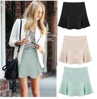 Fresh Summer Female Slim Mini Saia Curta Plus Size All-Match Solid Color Cute Girl Skirt Saia Feminina S M L XL 8805