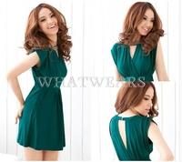 Free Shipping Fashion Womens Graceful V-neck Backless Beaded Embellished Dress 2 Colors [4 71-3006]