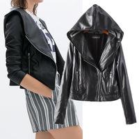 High quality PU leather jacket hooded zipper jaqueta de couro feminina high street jackets women coat Leather & Suede hot sale