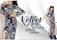9822 2014 unique blue and white porcelain slit neckline placketing elegant sexy long-sleeve dress