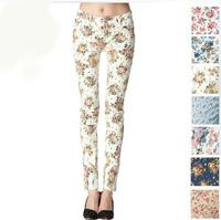 2013 Women vintage Slim floral cotton jeans casual flower print hot skinny straight denim pencil pants 111