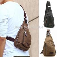 New Men's Small Canvas Shoulder Sports Crossbody Rucksack Mini Bag messenger bag Black Coffee free shipping