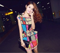 Multicolour 4770 plaid chiffon one-piece dress
