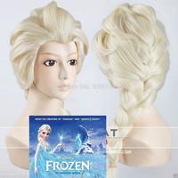"34"" LOL Frozen Snow Queen Elsa Weaving Braid Light Blonde Cosplay Wig 100% Kanekalon fibre no Lace Front Wigs Free deliver"