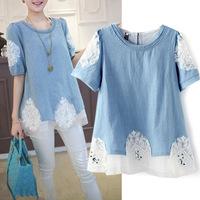 New summer 2014  L-4XL PLUS SIZE women denim shirt European elegant jeans stitching lace hand- beaded puff sleeve blouses