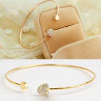 Ladies Girls Chic Lovely Shining Rhinestone Sweet Heart Bracelet Bangle Gold