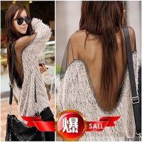 Dropshipping!2015 women fashion autumn women pullover Transparent Mesh Fur Knitted wool hoodies