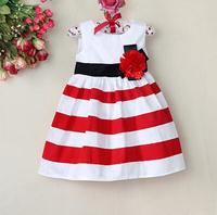 New 2014 girls dress baby & kids girl dress frozen casual striped lace caual striped dress children vestidos de menina dresses
