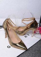 NEW!Shoes Women 2014 Gold Genuine Leather Women Pumps Fashion Brand High Heel Shoes,35-41,Heel 10cm,Free Shipping